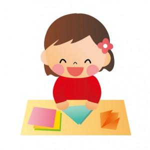 折り紙と女の子