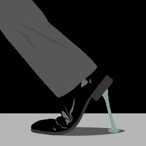 靴についたガム